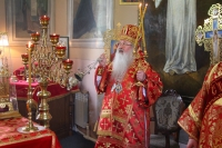 В день отдания праздника Пасхи митрополит Орловский и Болховский Тихон совершил Литургию в Воскресенском храме Орла. 27 мая 2020 г.