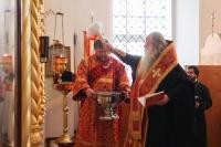 В день памяти Великомученика Георгия Победоносца митрополит Орловский и Болховский Тихон совершил литургию в Георгиевском храме Болхова. 6 мая 2020 г.